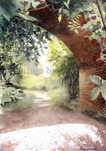 Bridge over Valley Walk, Sudbury,Suffolk watercolour painting by Eleanor Mann