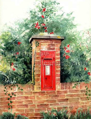 Watercolour painting The Post Box at Liston, Suffolk by Eleanor Mann Art