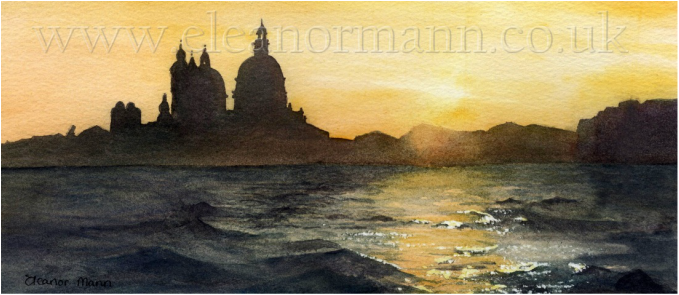 Sunset Leaving Venice by Eleanor Mann watercolour artist and tutor.
