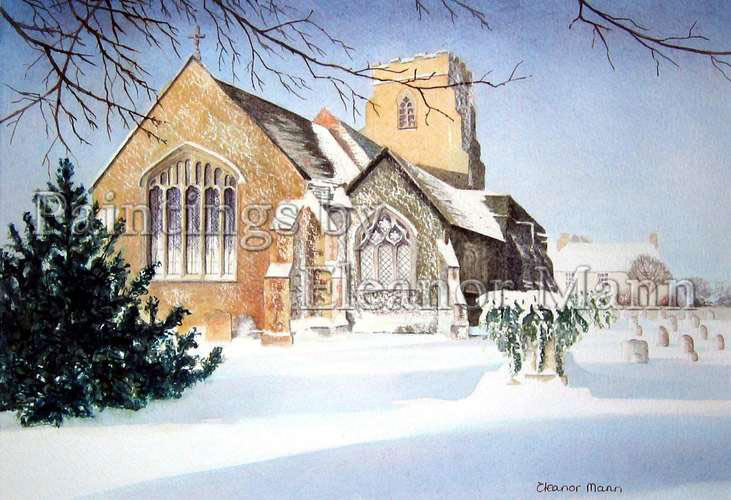 A watercolour painting by Eleanor Mann of a Church in snow.