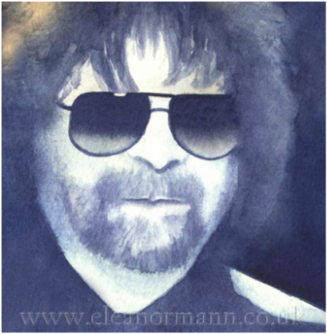 Jeff Lynne of ELO an original watercolour portrait painting by artist Eleanor Mann
