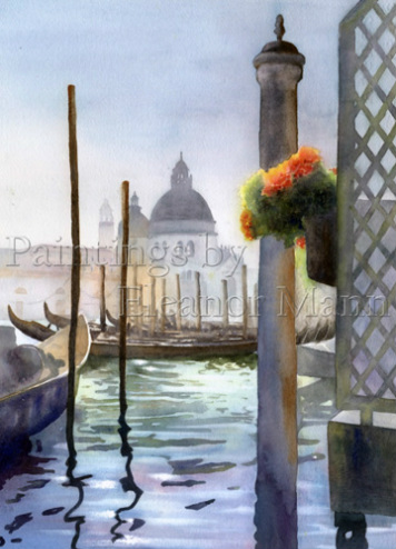 Evening Light, Santa Maria della Salute, Venice a watercolour by Eleanor Mann, artist
