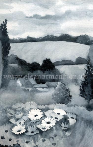 Original watercolour painting of Great Hickbush, Great Henny painted on location by Eleanor Mann