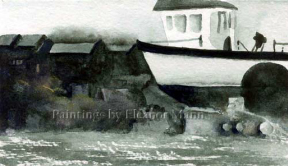 A small Watercolour of a Boatyard by Artist Eleanor Mann