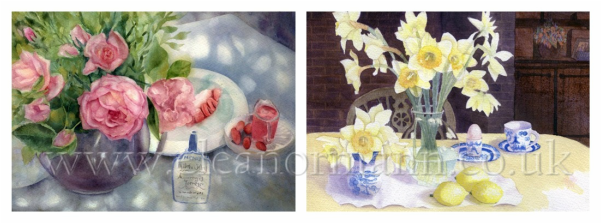 Roses and Daffodil paintings in watercolour by Eleanor Mann on Bockingford paper