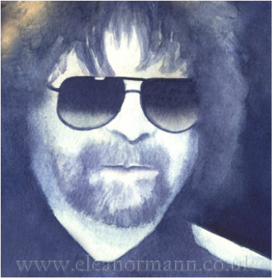 Original watercolour portrait painting of Jeff Lynne of ELO, Electric Light Orchestra, by Suffolk artist Eleanor Mann Winsor & Newton Artist Quality Paint on Saunders Waterford 140lb HP paper made by St Cuthberts Mill England