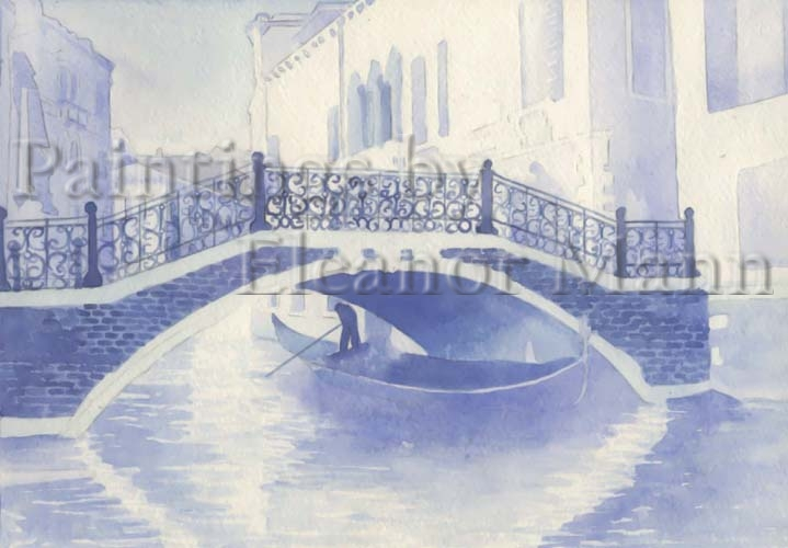 Venice in Blue.  A watercolour painting by Artist Eleanor Mann