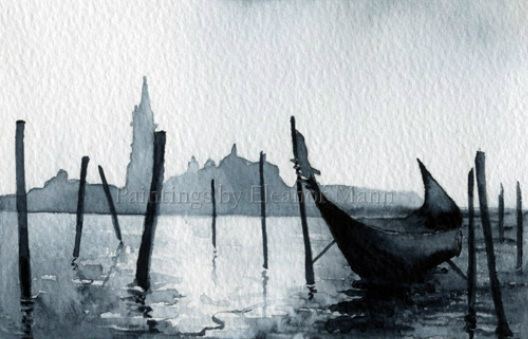 Watercolour picture of the view toward San Giorgio Maggiore, Venice by Eleanor Mann.   San Giorgio Maggiore is one of the islands of Venice in northern Italy surrounded by the lagoon.