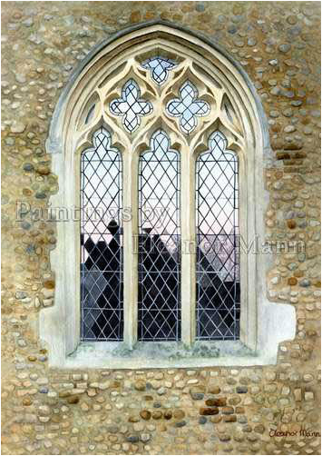 The Church window at Belchamp St Paul Church - watercolour painting by Eleanor Mann