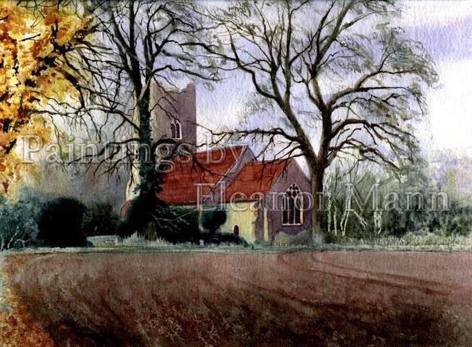 Borley Church an original watercolour by Eleanor Mann