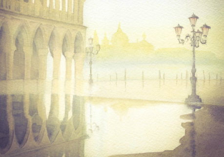 original watercolour painting of The Grand Canal and Venice by Eleanor Mann for sale