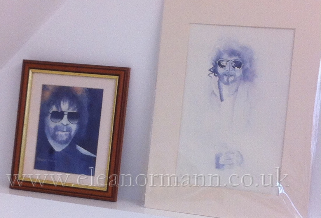 Original watercolour portrait paintings of Jeff Lynne of ELO, Electric Light Orchestra, and Lindsey Buckinghan of Fleetwood Mac, by Suffolk artist Eleanor Mann