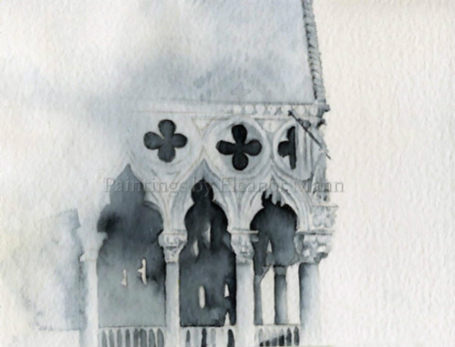 Watercolour painting of a corner of Doge's Palace (Palazzo Ducale), Venice by Eleanor Mann