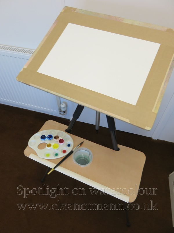 Painting on location portable easel made from a camera tripod  by Eleanor Mann