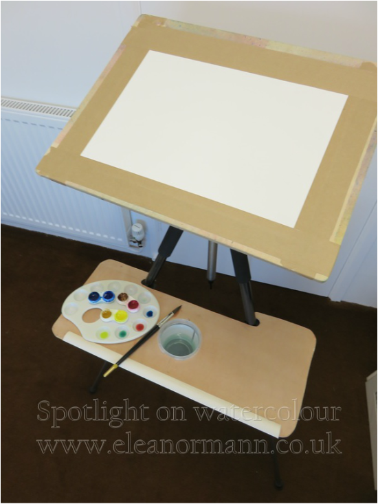 New easel adapted from a camera tripod by watercolour artist Eleanor Mann www.eleanormann.co.uk