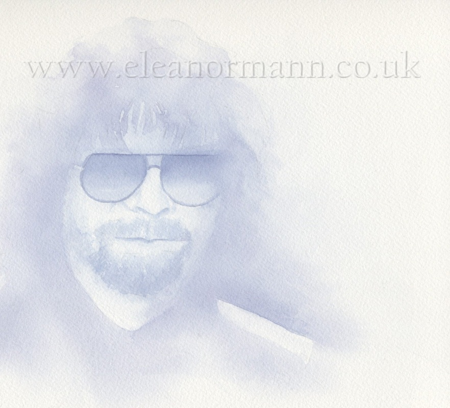 Original watercolour portrait painting of Jeff Lynne of ELO, Electric Light Orchestra, by Suffolk artist Eleanor Mann
