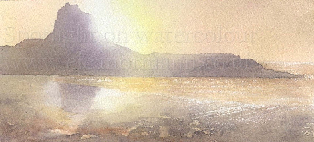 Lindisfarne Castle painted in watercolour by Eleanor Mann Suffolk Artist
