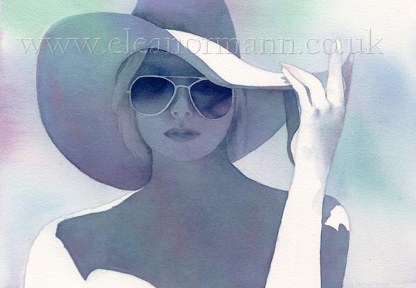 Summer an original watercolour portrait painting of a woman in a sun hat wearing sunglasses by Eleanor Mann