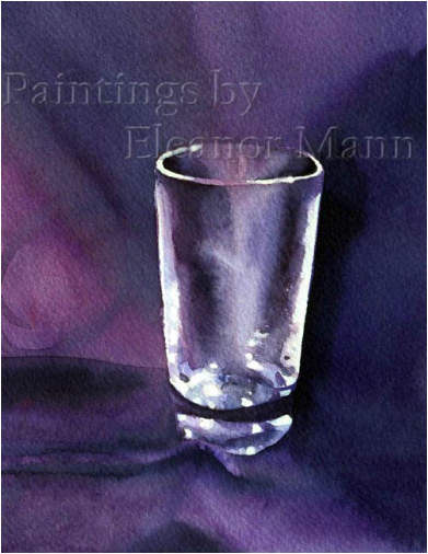 Original watercolour painting of a shot glass by artist Eleanor Mann