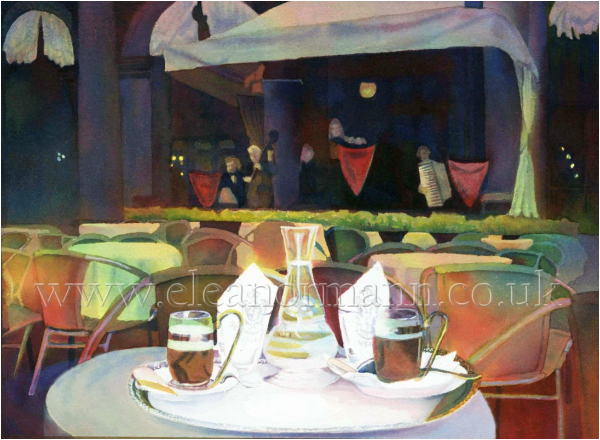 Caffe Florian, Venice. Original watercolour painting for sale by Suffolk Artist, Eleanor Mann www.eleanormann.co.uk