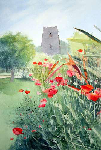 Poppies in a border a watercolour painting by Eleanor Mann