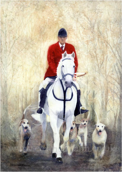 Exercising The Hounds East Essex Hunt An Original watercolour painting by Eleanor Mann