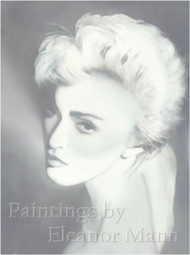 A watercolour portrait painting of  the pop-singer, Madonna. by Eleanor Mann