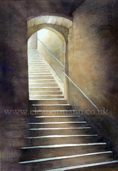 Abbey at Saint Hilaire Steps an original watercolour by Suffolk artist Eleanor Mann