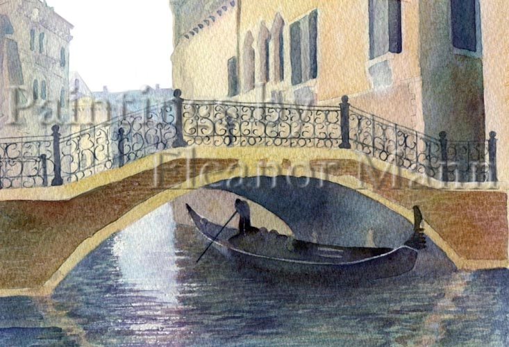 Morning in Venice.  A watercolour painting by Artist Eleanor Mann.