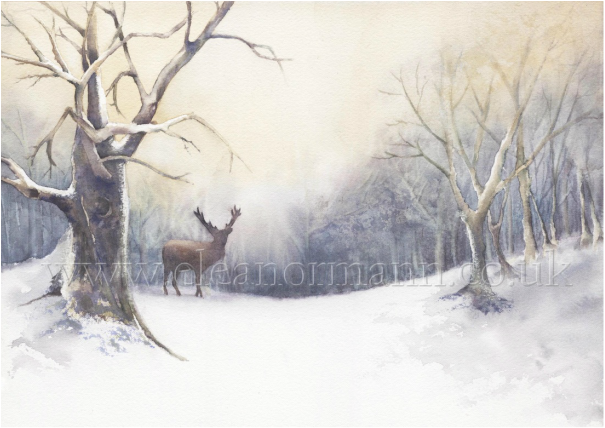 An original watercolour painting for sale of a stag deer in winter snow scene by artist, Eleanor Mann.