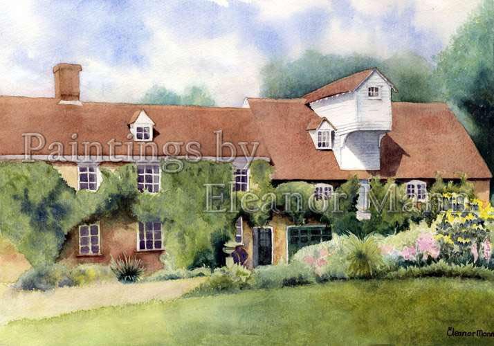 Mill at Pentlow, Suffolk. Watercolour painting by Eleanor Mann