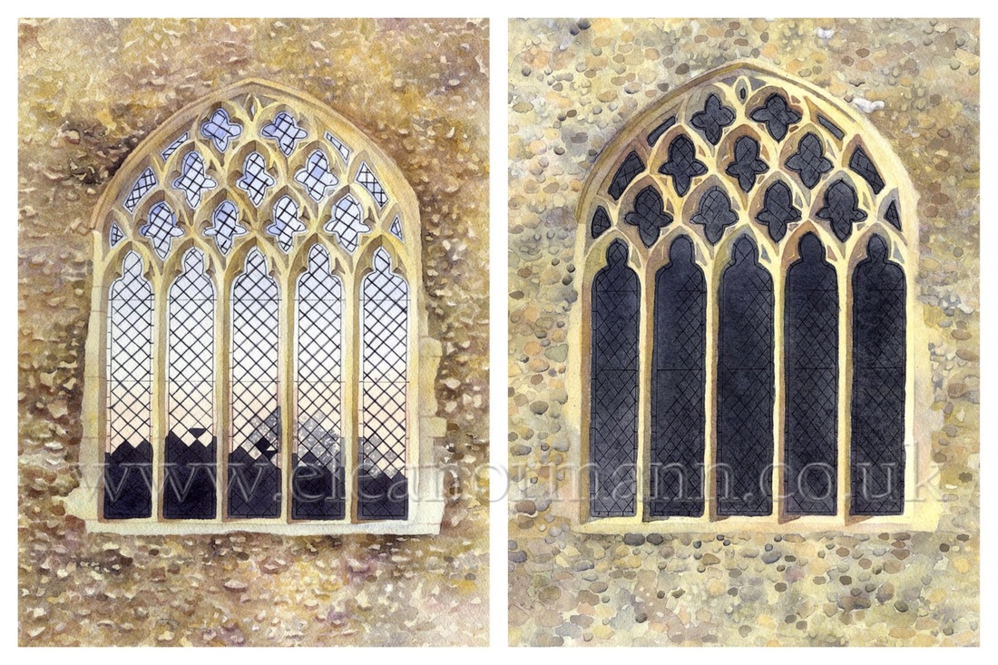 Two watercolour paintings of the same subject, a church window, by Suffolk Artist, Eleanor Mann
