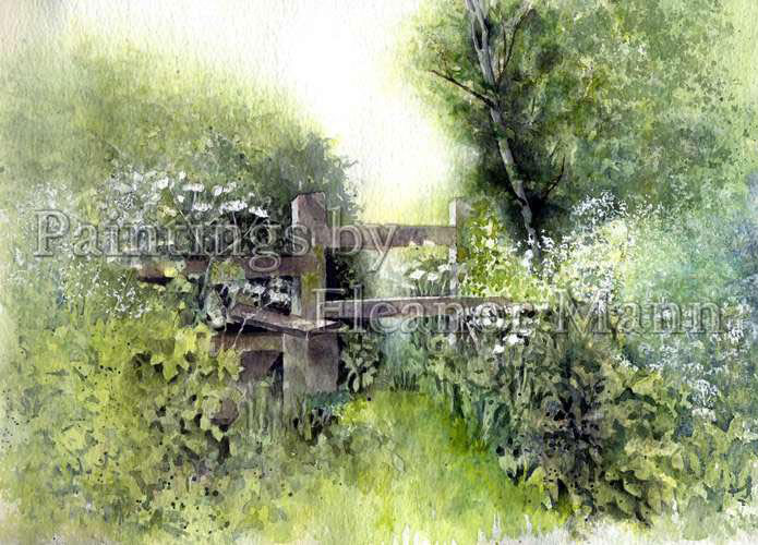 Stile in Spring - a watercolour painting by Eleanor Mann