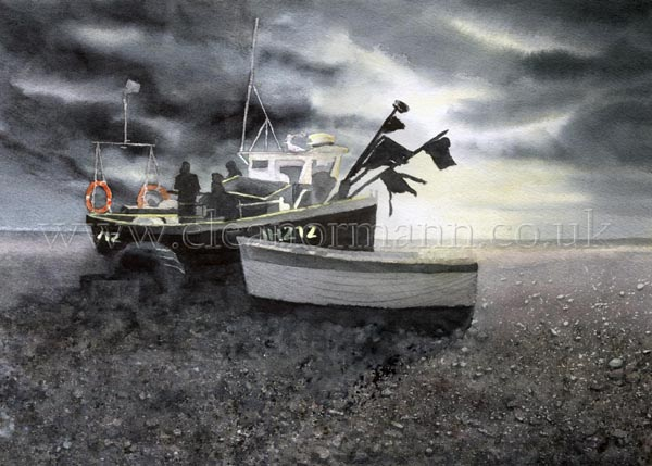 First Light Fishing Boat on the beach at Aldeburgh Suffolk by Suffolk watercolour artist Eleanor Mann on Bockingford 140lb NOT paper by St Cuthbert's Mill, England