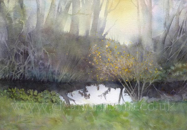Original watercolour painting for sale Early Morning Walk by watercolor artist Eleanor Mann