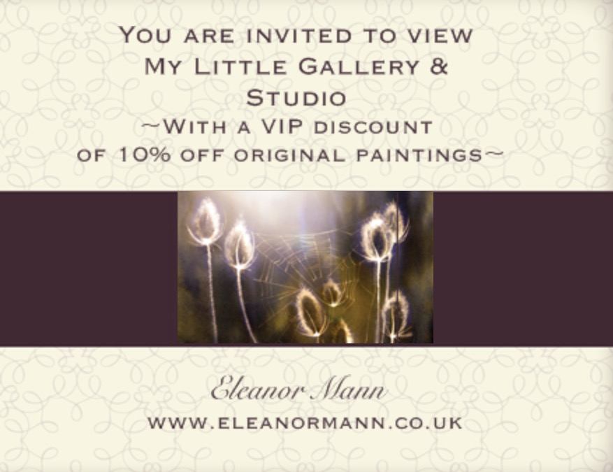 Suffolk Watercolour Artist, Eleanor Mann Open Studio Event 10th and 11th September 2016