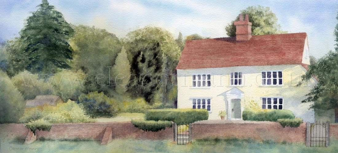 Commissioned watercolour of private house and garden painting by Suffolk Artist Eleanor Mann Belchamp St Paul