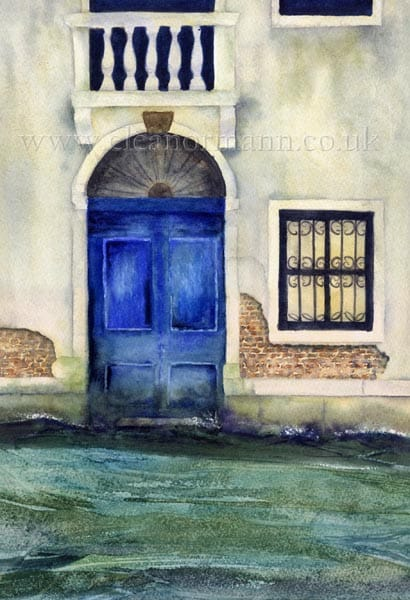 Faded, Elegance., original, watercolour, painting, Eleanor Mann, Doorway, Venice, Italy,