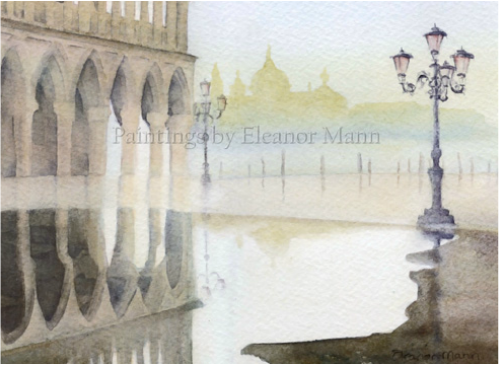 Original Watercolour painting of Doge's Palace (Palazzo Ducale), Venice by Artist Eleanor Mann. The original watercolour is for sale