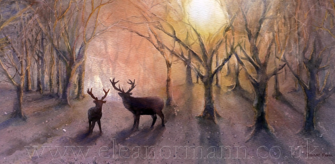 Original watercolour painting of stag deer in a wood by Suffolk Artist, Eleanor Mann