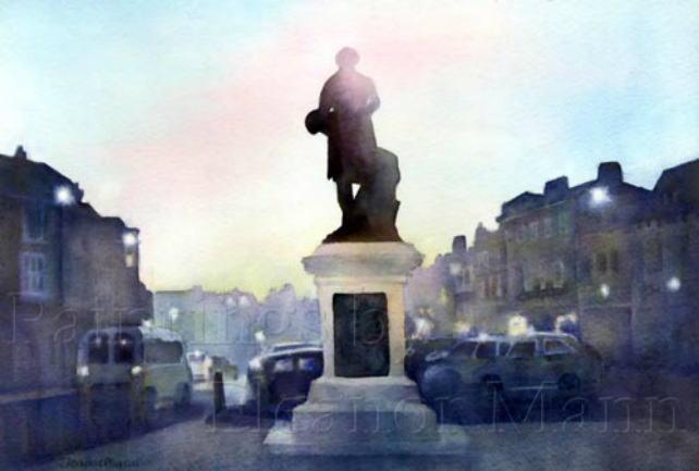Original Watercolour painting of the statue of Thomas Gainsborough on Market Hill, Sudbury by Eleanor Mann