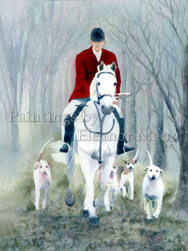 Exercising the Hounds (winter) a watercolour painting by Eleanor Mann