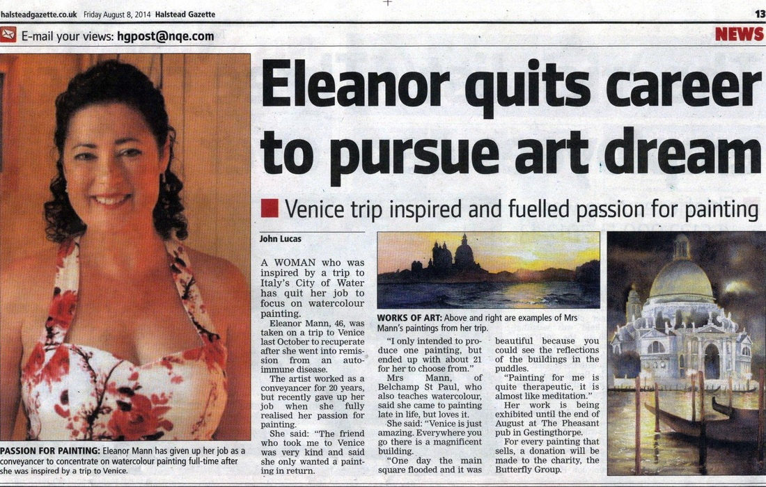 Newspaper article on Suffolk Watercolourist, Eleanor Mann.