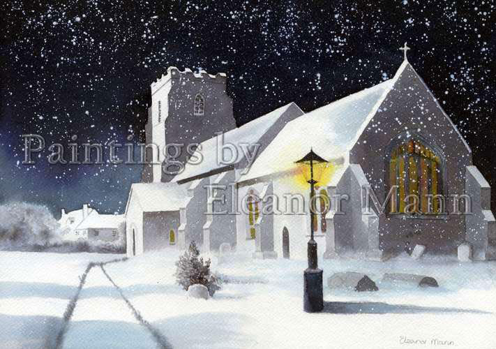Church in Snow. A watercolour painting by Eleanor Mann