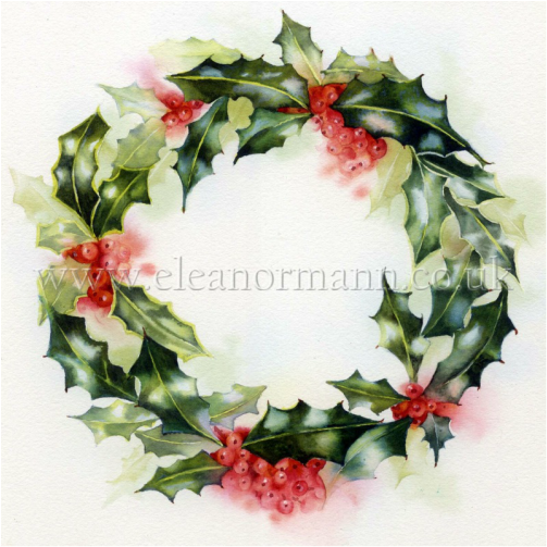 Holly Wreath an original watercolour painting by Eleanor Mann