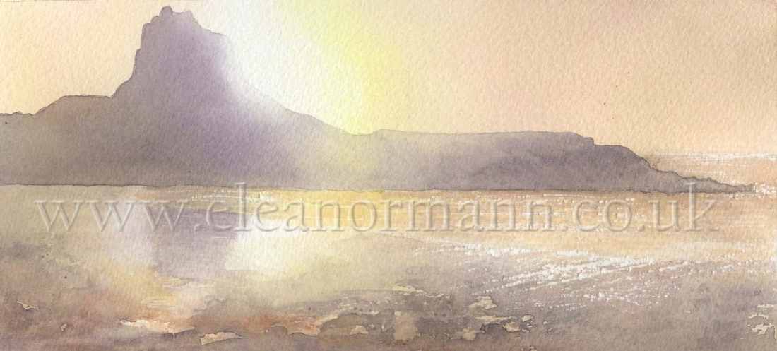 Original watercolour painting by Suffolk Artist, Eleanor Mann. Lindisfarne Castle, Holy Island, Northumberland