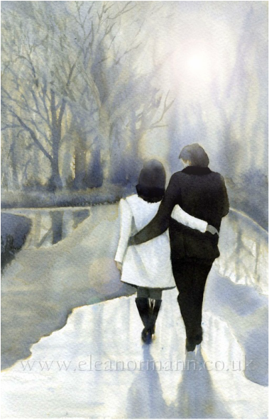 An original watercolour painting by artist Eleanor Mann. A close couple walking in Central Park.