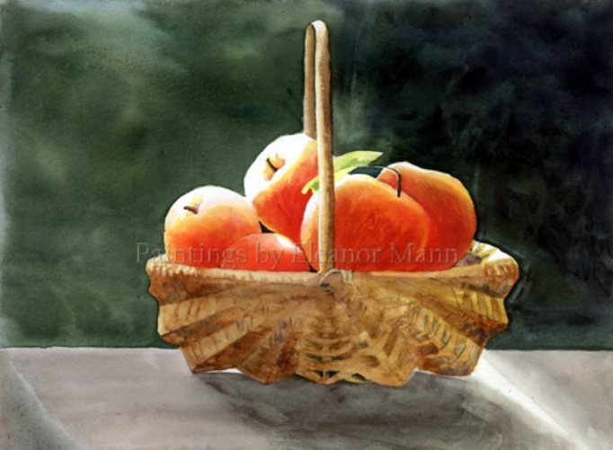 watercolour painting Apples in a basket by Eleanor Mann prints/cards available