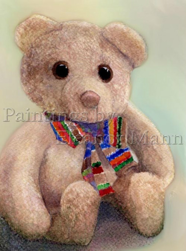 A watercolour painting of a teddy bear by Eleanor Mann. Available as prints/cards