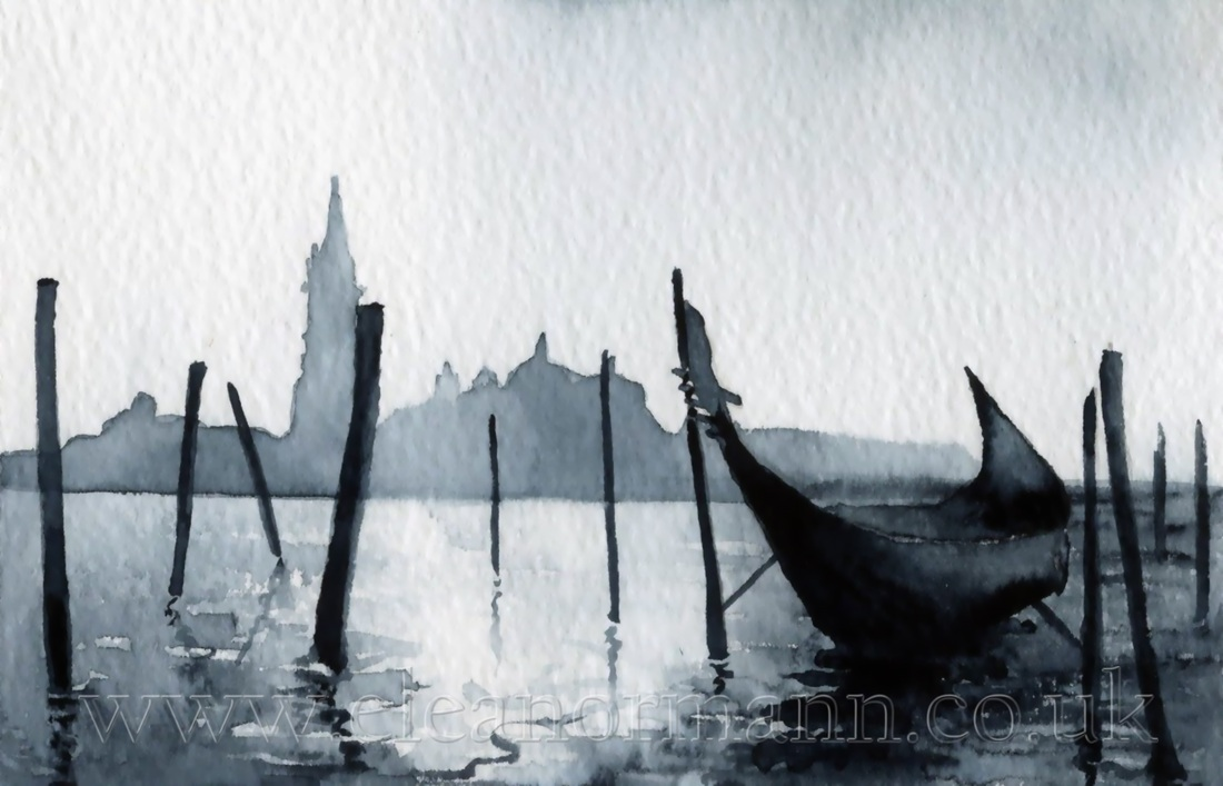 View towards San Giorgio Maggiore in Venice - watercolour by Eleanor Mann